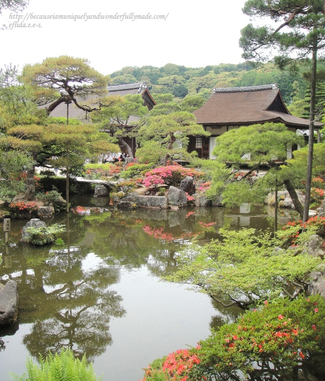 The pond and the Japanese garden at Ginkaku-ji in Kyoto, Japan. Visible in the background is the Togudo or the tea ceremony rooms.