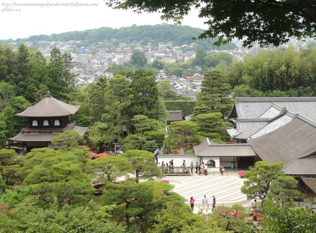 A stunning view of Ginkaku-ji from top of the hill in Kyoto, Japan.