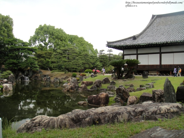 A beautiful view of the garden southwest of Ninomaru Palace at Nijo Castle in Kyoto, Japan.