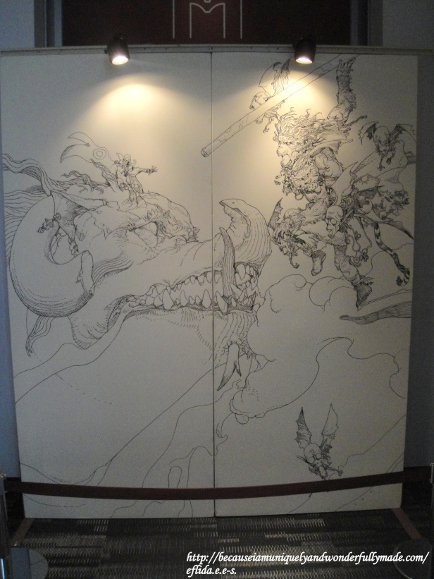 A wonderful art piece at Kyoto International Manga Museum.