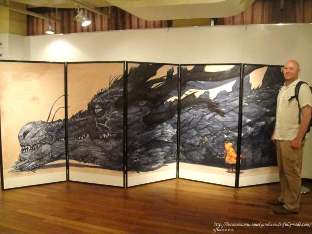 A giant panel featuring Katsuya Terada's illustration at Kyoto International Manga Museum.