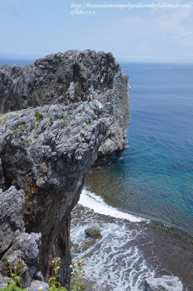 A breathtaking view of the Pacific Ocean looking out on the east cliff side of Cape Hedo in Okinawa, Japan.