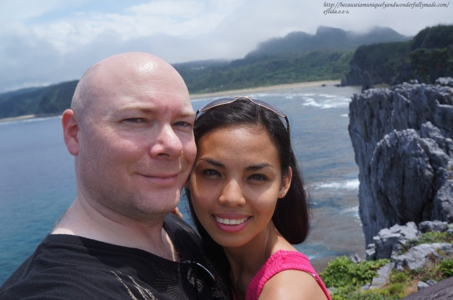 Enjoying the captivating view from Cape Hedo point in Okinawa, Japan on our anniversary.