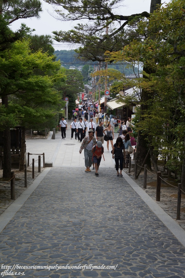 Dense tourists just outside the gates of Ginkaku-ji in summer in Kyoto, Japan.