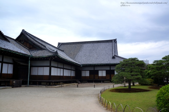 The side view of Ninomaru at Nijo Castle in Kyoto, Japan showing the buildings connecting each other.