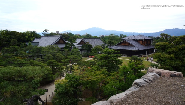 Breathtaking view of the Honmaru Palace and the gardens in Kyoto, Japan from uphill.