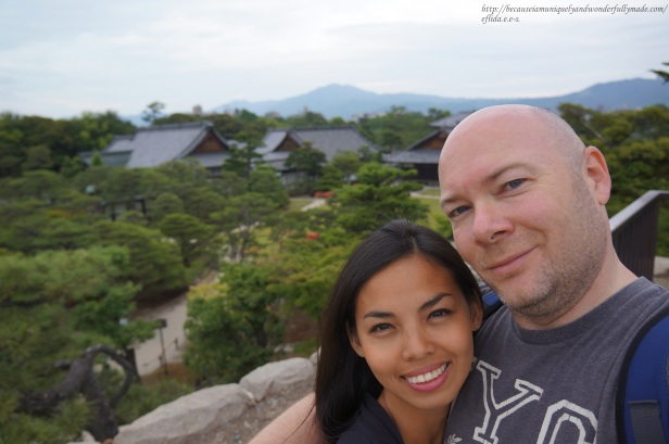 Hubby and I on top of the hill overlooking Honmaru Palace and its garden at Nijo Castle in Kyoto, Japan.