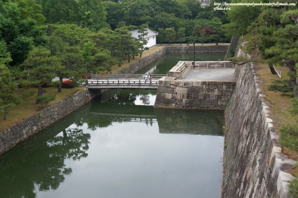 Better view of the moat surrounding Nijo Castle in Kyoto, Japan from uphill.