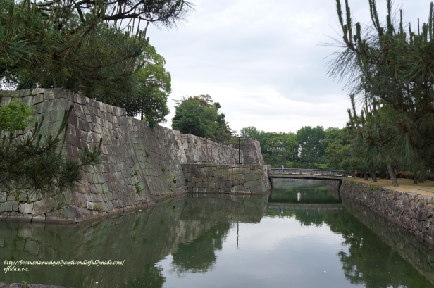 The moat surrounding the entire Nijo Castle in Kyoto, Japan and the bridge from afar connecting the two castles : Ninomaru and Honmaru.