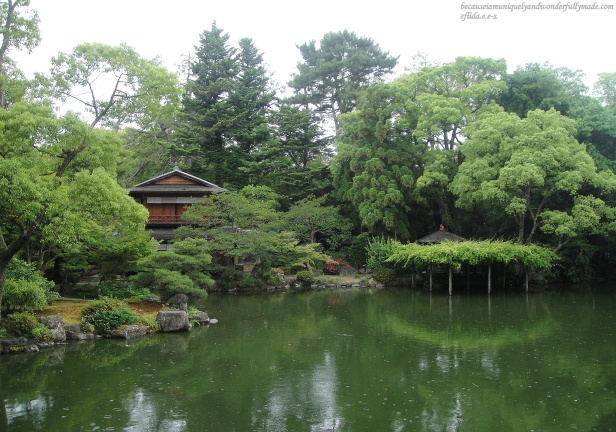 The beautiful Magatamanoike pond garden at the south end of Kyoto Imperial Palace Park highlighted by the Shusuitei villa or a tea ceremony room of Kujo family.
