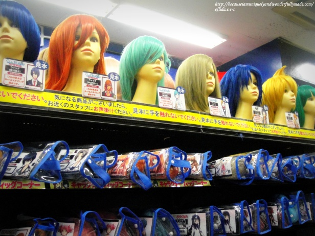 Some cosplay items on display in one of the shops at Akihabara in Tokyo, Japan.