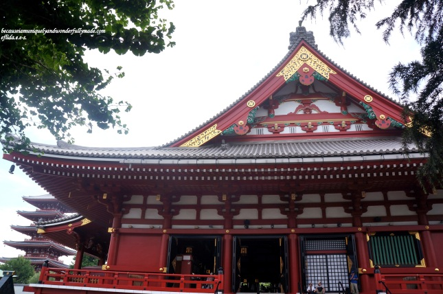 The side view of the Main Hall or the Kannondo Hall at Senso-ji Temple in Tokyo, Japan. The Hall is a declared national treasure.