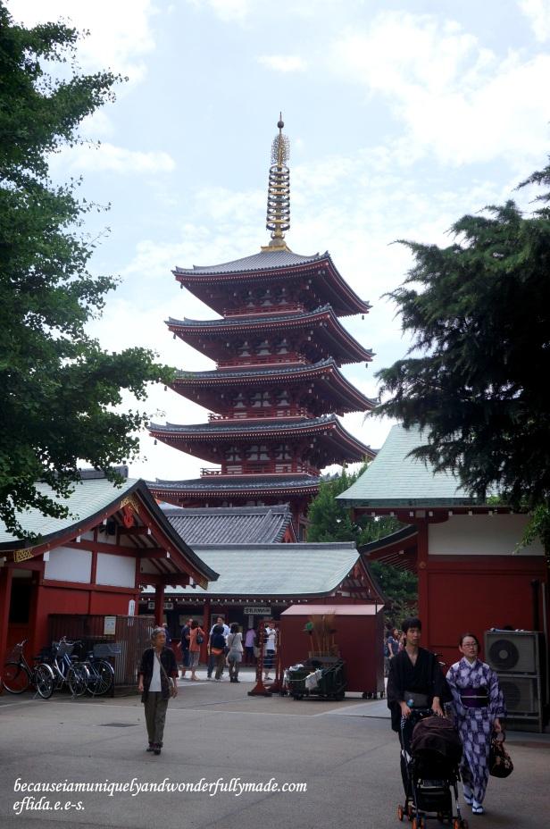 The Five-story Pagoda at Senso-ji Temple in Tokyo, Japan.
