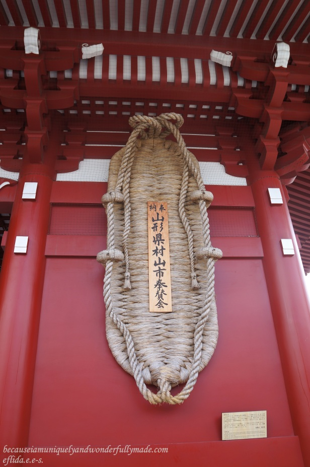 The giant O-Waraji or straw slipper that hangs on the side of the Hozomon Gate at Senso-ji Temple in Tokyo, Japan. It was made by 800 citizens of Murayama City in a month and was devoted to Sensoji to charm against bad spirits.