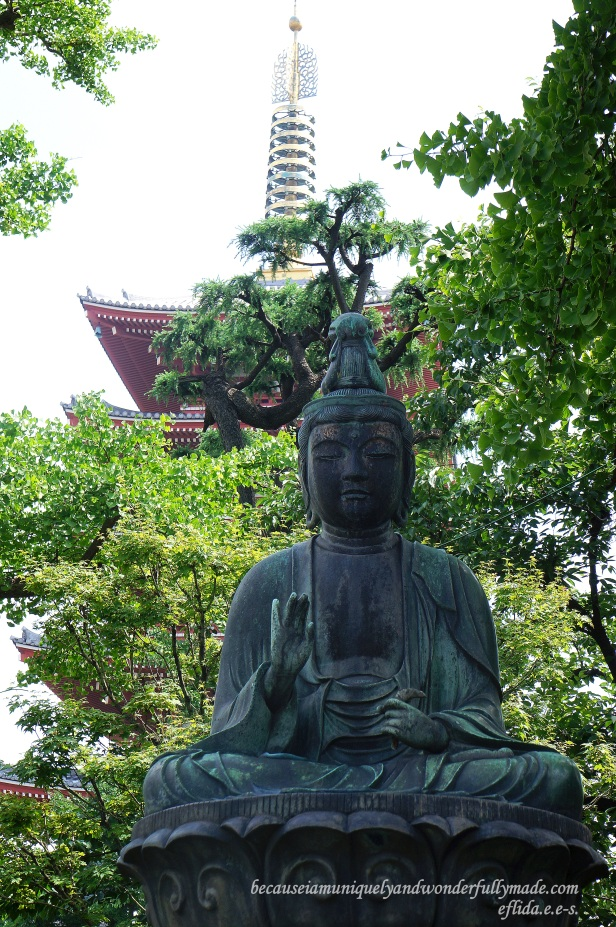 One of the Buddhas around Dembo-in Garden at Senso-ji Temple in Tokyo, Japan.
