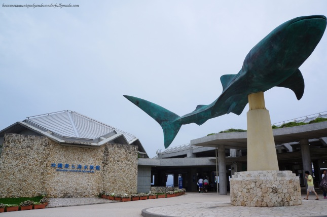 A giant statue of a whale shark greets visitors on the fourth floor of Churaumi Aquarium in Motobu District in Okinawa, Japan.