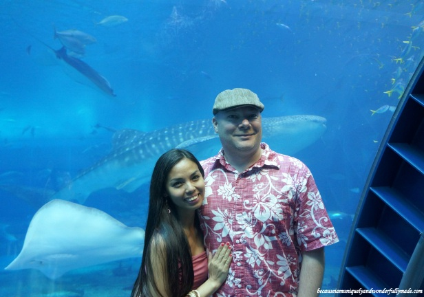Hubby and I at Churaumi Aquarium in Motobu District in Okinawa, Japan during our anniversary celebration.