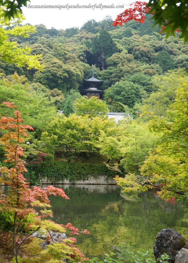 The Tahoto Pagoda nestled behind the trees as viewed across the Hojo Pond at Eikan-dō Zenrin-ji 永観堂禅林寺 in Kyoto, Japan.