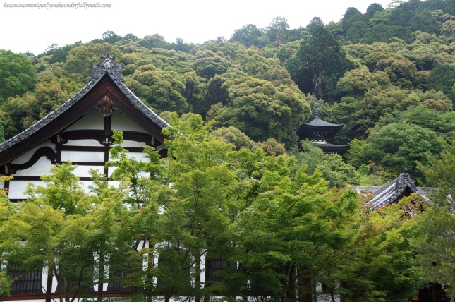 The Tahoto Pagoda nestled behind the trees at Eikan-dō Zenrin-ji 永観堂禅林寺 in Kyoto, Japan.