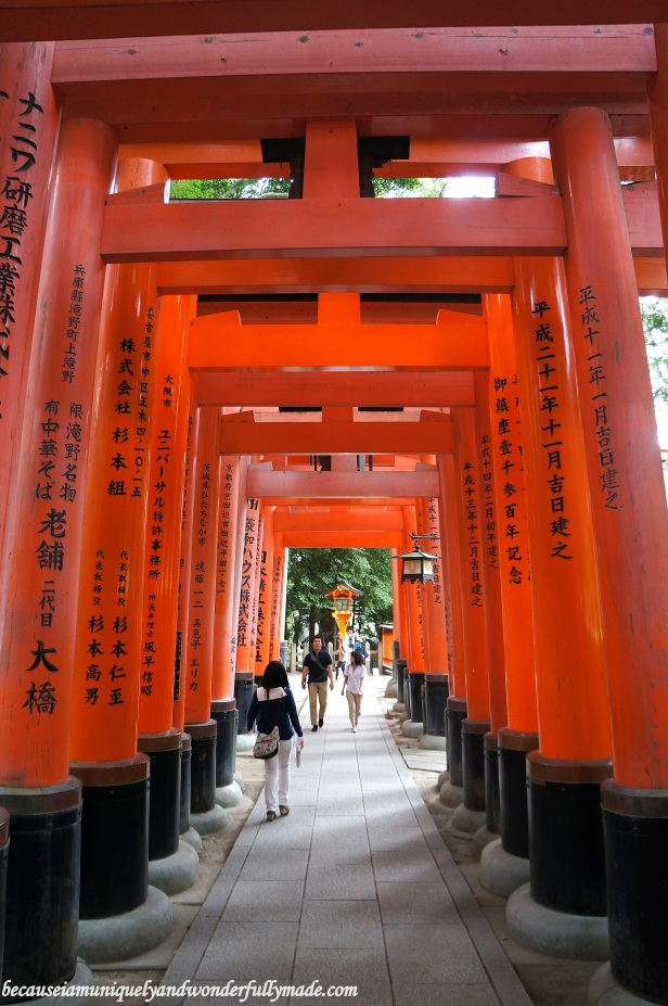 """The Senbon Torii 千本鳥居 which means """"thousands of torii gates"""" are actually donations from individuals and companies who are firm believers over the years. The names of the donor and the date of the donation are inscribed on the back of each gate."""