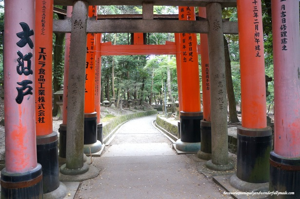 "The Senbon Torii 千本鳥居 which means ""thousands of torii gates"" are actually donations from individuals and companies who are firm believers over the years. The names of the donor and the date of the donation are inscribed on the back of each gate."
