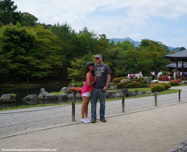 Hubby and I with the Sogen-chi pond (曹源地) in our background at Tenryu-ji Temple in Arashiyama district in Kyoto, Japan.