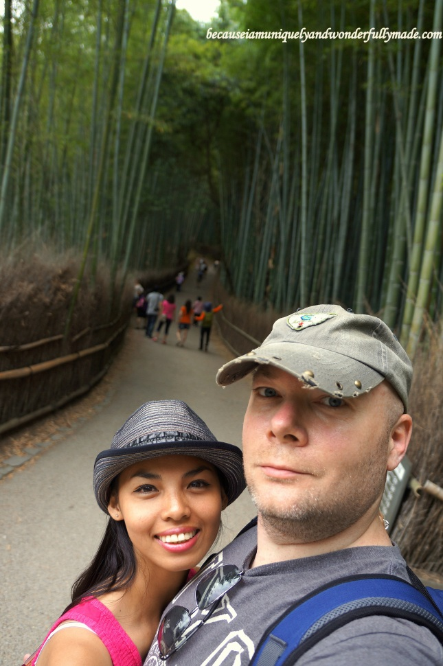 Hubby and I enjoying our stroll at The Path of Bamboo : Sagano Bamboo Forest 嵯峨野竹林 in Arashiyama District in Kyoto, Japan.