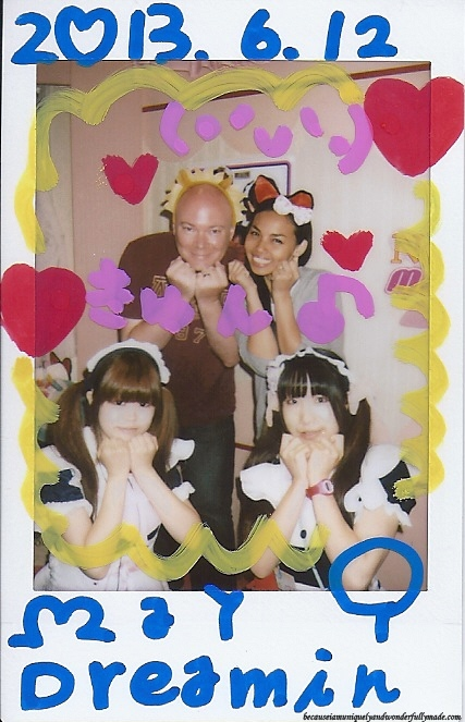 One of the two hand-decorated photographs as our souvenir from Maidreamin Cafe メイドカフェ めいどりーみんon our first maid cafe メイド喫茶 / メイドカフェ experience in Akihabara District in Tokyo, Japan.