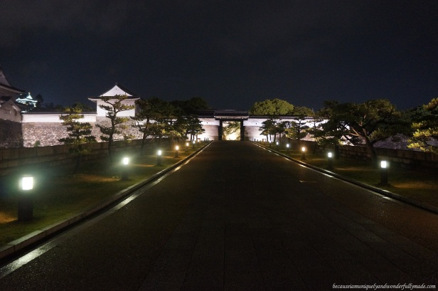 The pathway to Osaka Castle 大坂城  at night in Chūō-ku, Osaka, Japan.