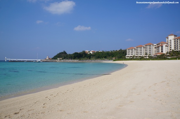 The beautiful beach line at Busena Marine Park ブセナ海中公園 in Nago City, Okinawa, Japan.