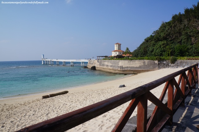Approaching the Underwater Observatory Tower at Busena Marine Park ブセナ海中公園 in Nago City, Okinawa, Japan.