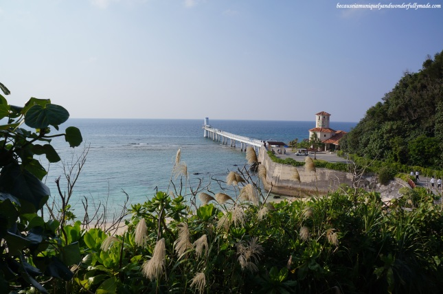 View of the Underwater Observatory from Busena Terrace Beach Resort restaurant in Nago City, Okinawa, Japan.