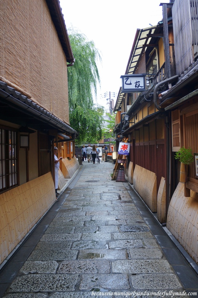 The famous Shinabashidori (新橋通) in Gion District in Kyoto, Japan.