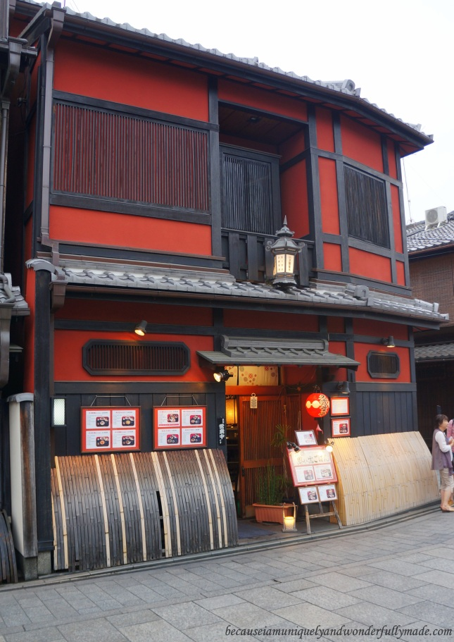 One of the traditional Kyoto houses around Hanami-koji 花見小路, the main street of Gion District in Kyoto, Japan.