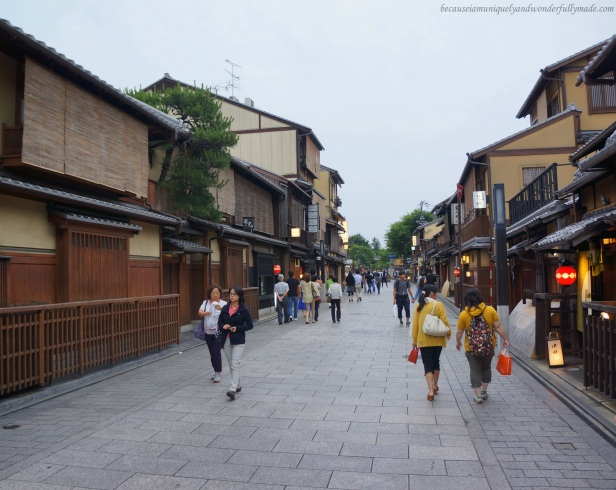 Hanami-koji 花見小路, the main street of Gion District, world famous for its Kyoto style houses.
