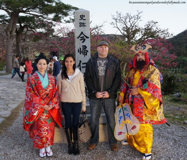 With the Ryukyu King and Queen during the Cherry Blossom (Sakura) 桜 at Nakijin Castle 今帰仁城 in Okinawa, Japan.