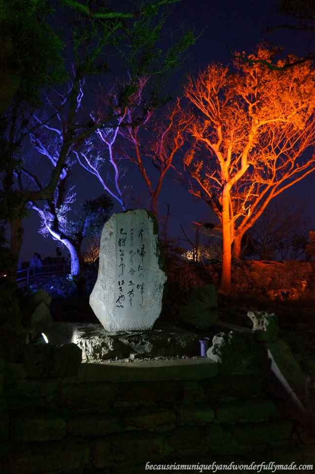Colorful lights illuminating the Nakijin Castle Courtyard 今帰仁城 during a Cherry Blossom (Sakura) 桜 in Okinawa, Japan.