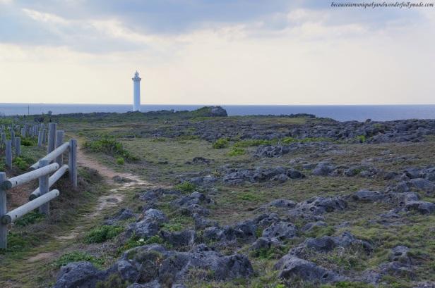 The beautiful Cape Zanpa Lighthouse in Yomitan, Okinawa, Japan.