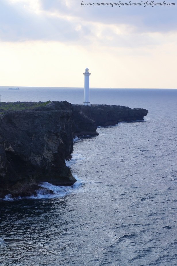 The beautiful Cape Zanpa Lighthouse in Yomitan, Okinawa, Japan.