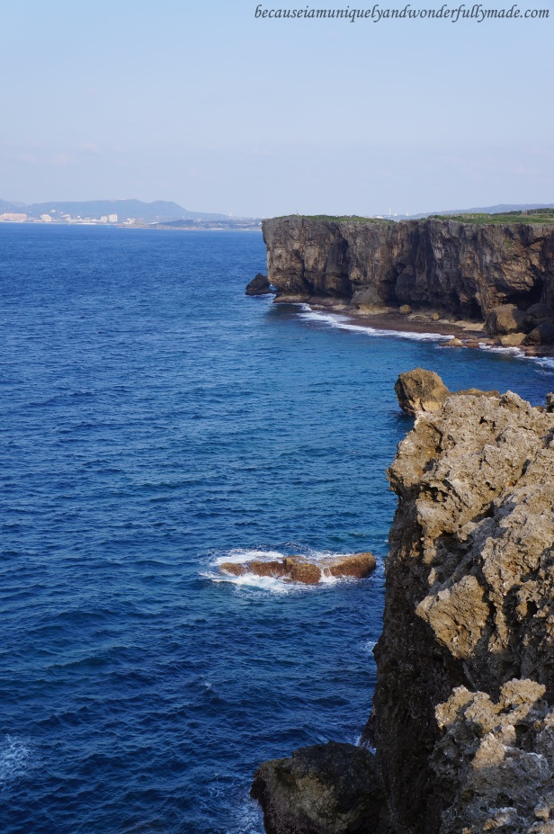 The picturesque cliff at Cape Zanpa in Yomitan, Okinawa, Japan.