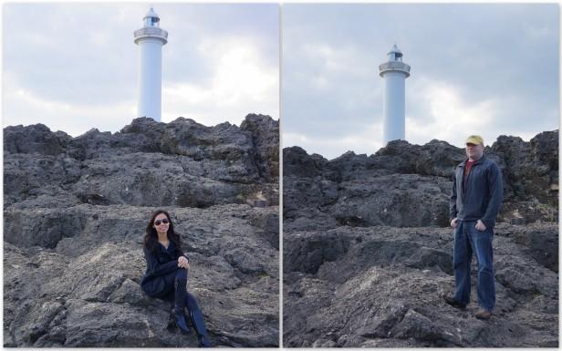 The marvelous formation of volcanic rocks surrounding Cape Zanpa Lighthouse in Yomitan, Okinawa, Japan.