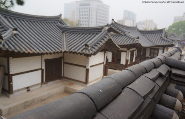 A peek of the traditional Korean Hanok houses in Namsangol Traditional Village in Jung-gu, Seoul, South Korea.
