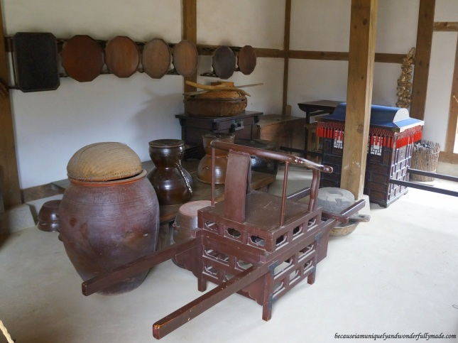 A peek of the interior in one of the traditional Korean Hanok houses at Namsangol Traditional Village in Jung-gu, Seoul, South Korea.