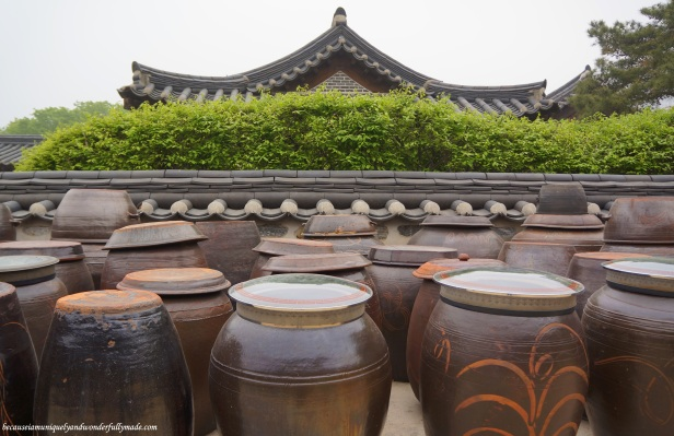 Jangdokdae pots at Namsangol Traditional Village in Jung-gu, Seoul, South Korea.