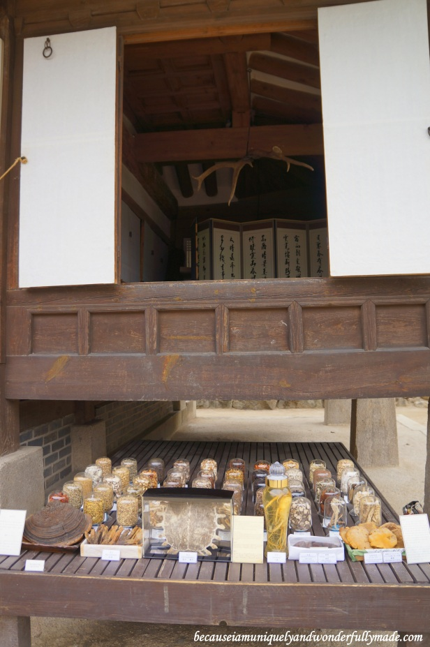 Traditional medicine displayed at Namsangol Traditional Village in Jung-gu, Seoul, South Korea.