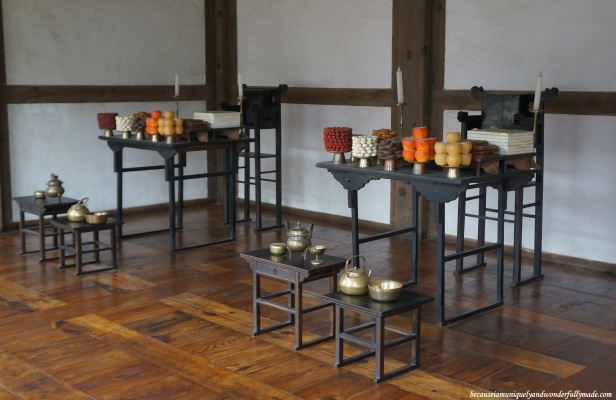Food display for a traditional ceremony at Namsangol Traditional Village in Jung-gu, Seoul, South Korea.