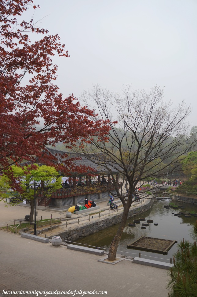 A peek of the Cheonugak Pavilion and the pond at Namsangol Traditional Village in Jung-gu, Seoul, South Korea.