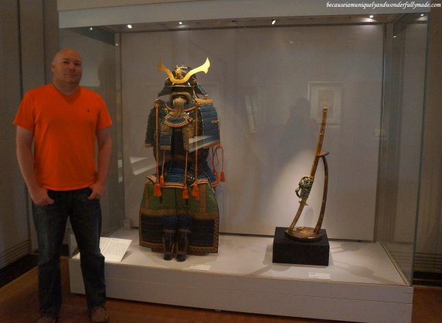 A warrior in full armor displayed inside the National Museum of Korea 국립중앙박물관 in Yongsan, Seoul, South Korea.