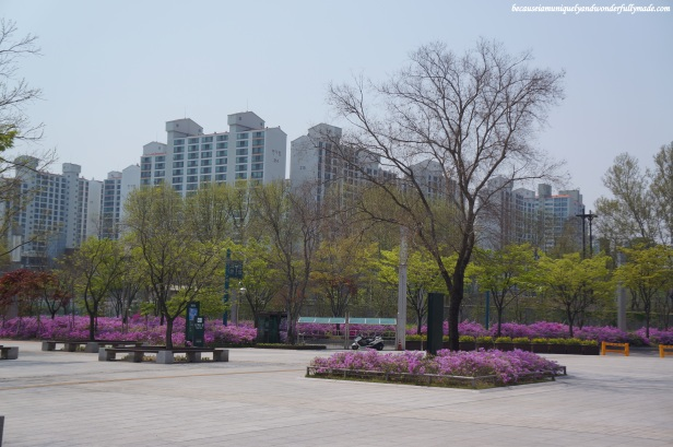 The park outside the National Museum of Korea 국립중앙박물관 in Yongsa, Seoul, South Korea.