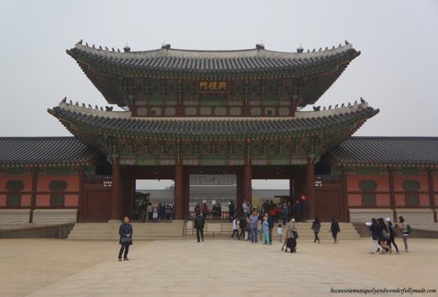 Geunjeongmun 한국어 or the The Third Inner Gate at Gyeongbokgung Palace 경복궁 in Seoul, South Korea.